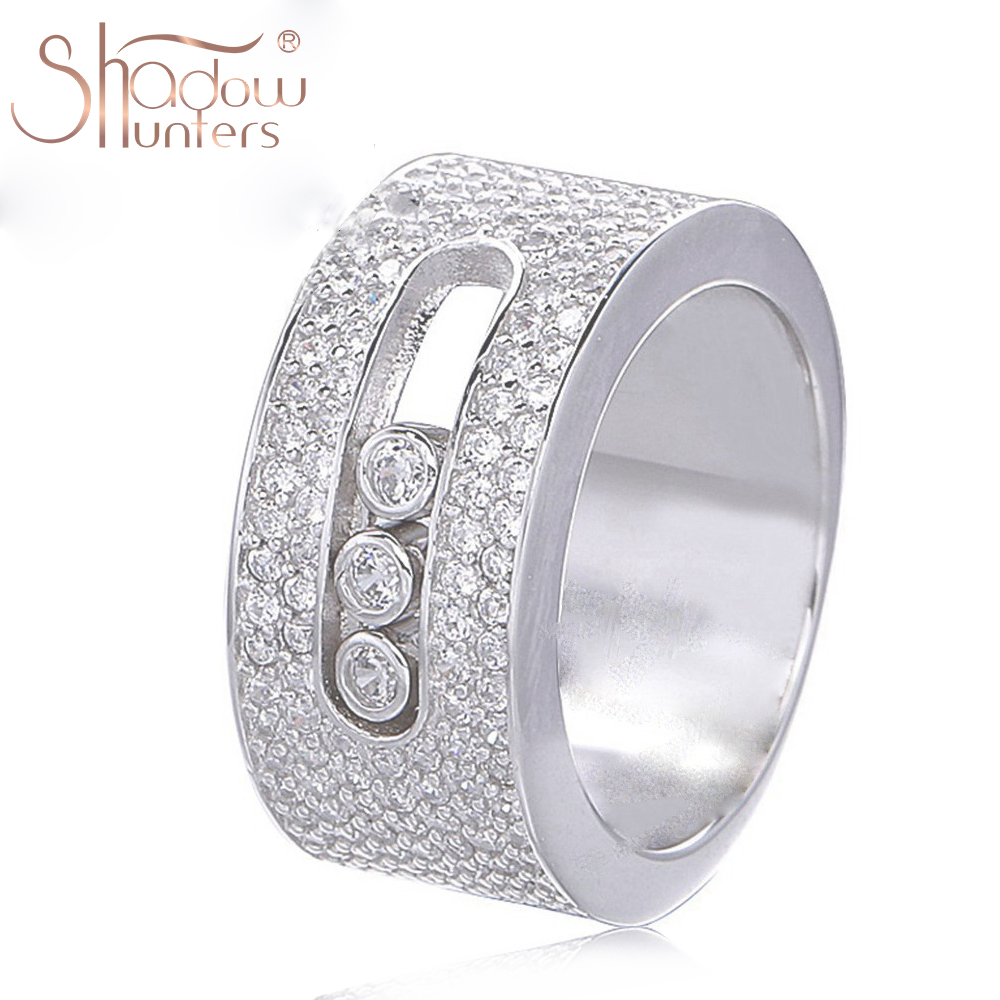 SHADOWHUNTERS Luxury Brand Authentic 925 Sterlling Silver Wedding Clear CZ Move Stone Rings For Men Fashion Jewelry Making