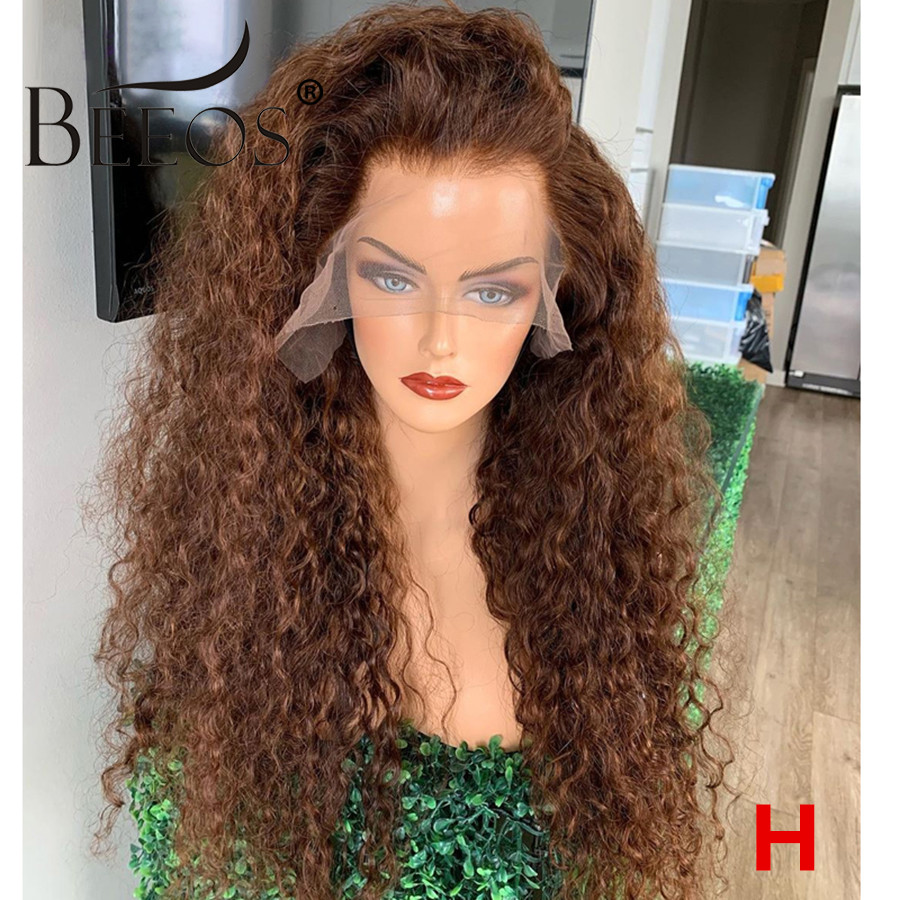 Beeos Honey Blonde Curly 13*6 Lace Front Human Hair Wig 180% Brown Color Brazilian Remy Preplucked Glueless Baby Hair