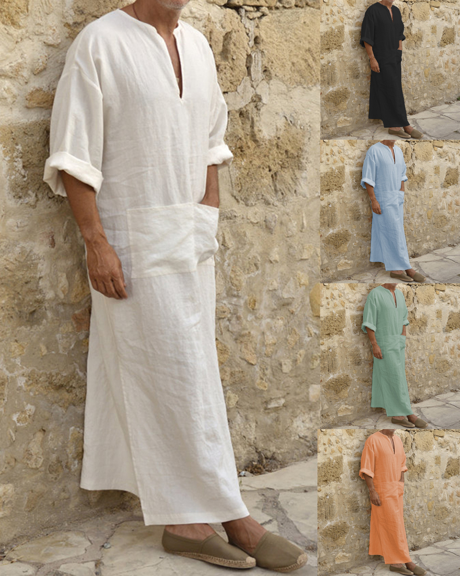 Islamic Traditional Jubba Thobe Men Abaya Linen Muslim Robes Dubai Arabic Kaftan Clothing Qamis Homme Arab Turk Gown Hijab Dress
