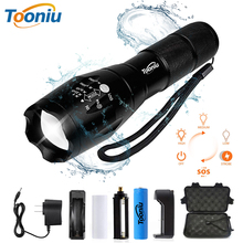 цена на Tooniu XM-L T6 L2 Aluminum Waterproof Zoomable CREE LED Tactical Flashlight Torch Light for 18650 Rechargeable Battery or AAA