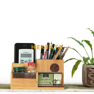 Image 3 - Multifunction Wooden & Bamboo Pen Pencil Holder Desktop Storage Box Retro Cosmetic Holder Creative Office Accessories CL 2524