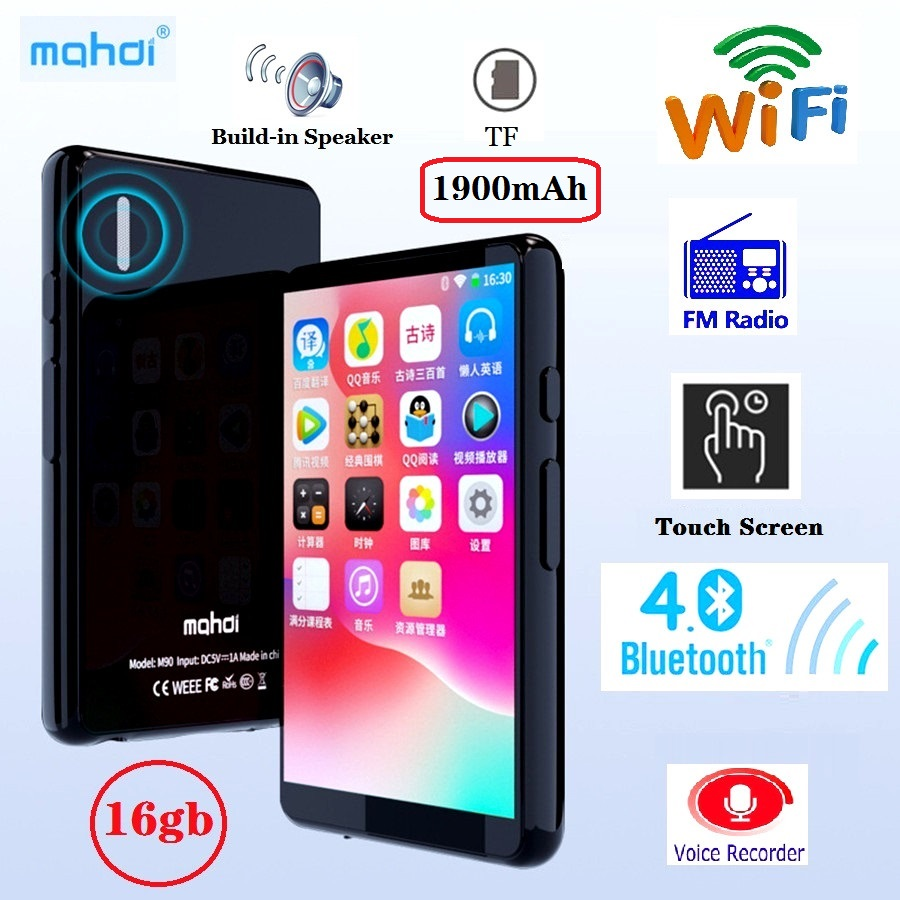 Mahdi M90 16GB WIFI Bluetooth MP4 Player Speaker MP3 Touch Screen 4.0 Inch Music MP5 Video Player Support TF Card FM/ Recording