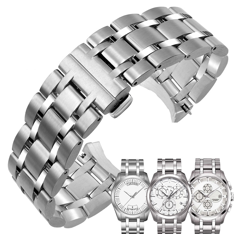 Stainless Steel Watchband 22mm 23mm 24mm Suitable For Tissot 1853 Couturier Series T035 Watch Strap Wristband Bracelet