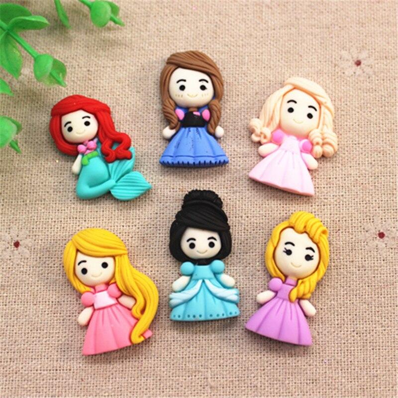 10pcs Cute Hand Painted Resin Cartoon Girls Flatback Cabochons Miniature Art DIY Craft/Hair Clip Decoration