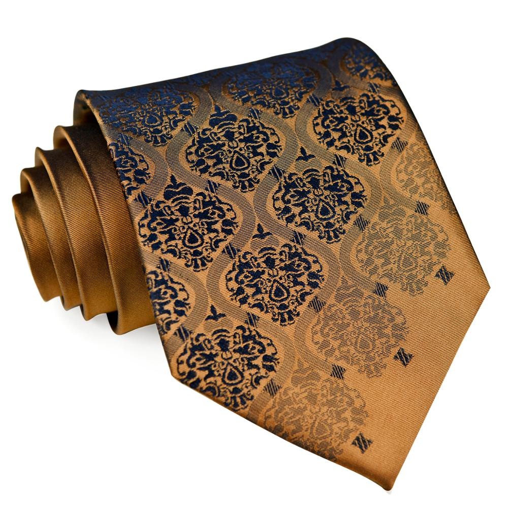 Solid Floral Brown Bronzed Navy Blue Gold Mens Ties Sets Neckties Handkerchief 100% Silk Jacquard Woven Free Shipping Wholesale