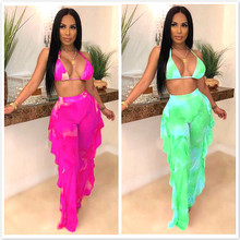 Tie Dye Print Mesh Summer Beach braTwo Piece Set with Panties Women Sexy Bra Halter Crop Top Ruffle Wide Leg Pants Clubwear tie side striped cami top with wide leg pants