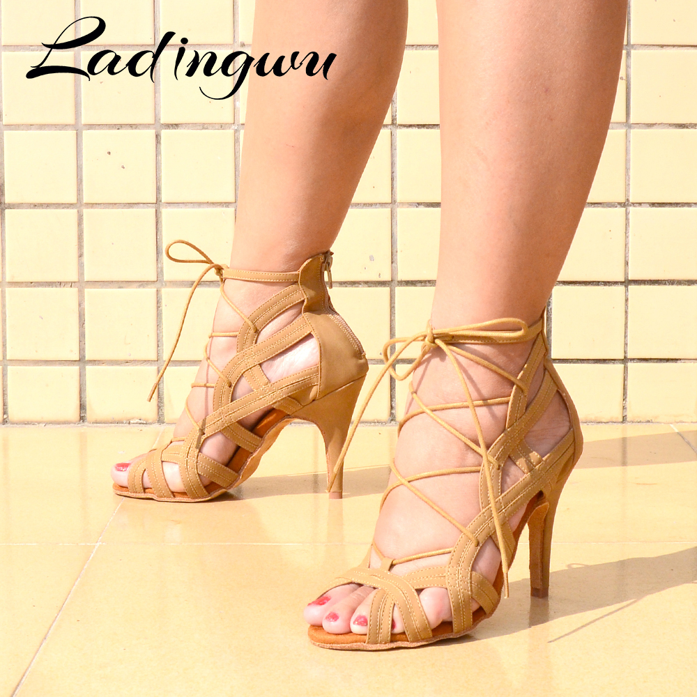 Ladingwu Brands Women Latin Dance Boots Ladys Salsa Dance Shoes Brown Black Red Suede Professional Ballroom Dance Shoes