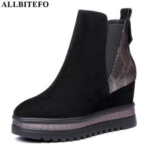 Image 1 - ALLBITEFO kliny obcas oryginalne skórzane szpilki botki dla kobiet mieszane kolory kobiety buty zimowe śnieg buty rozmiar: 34 42