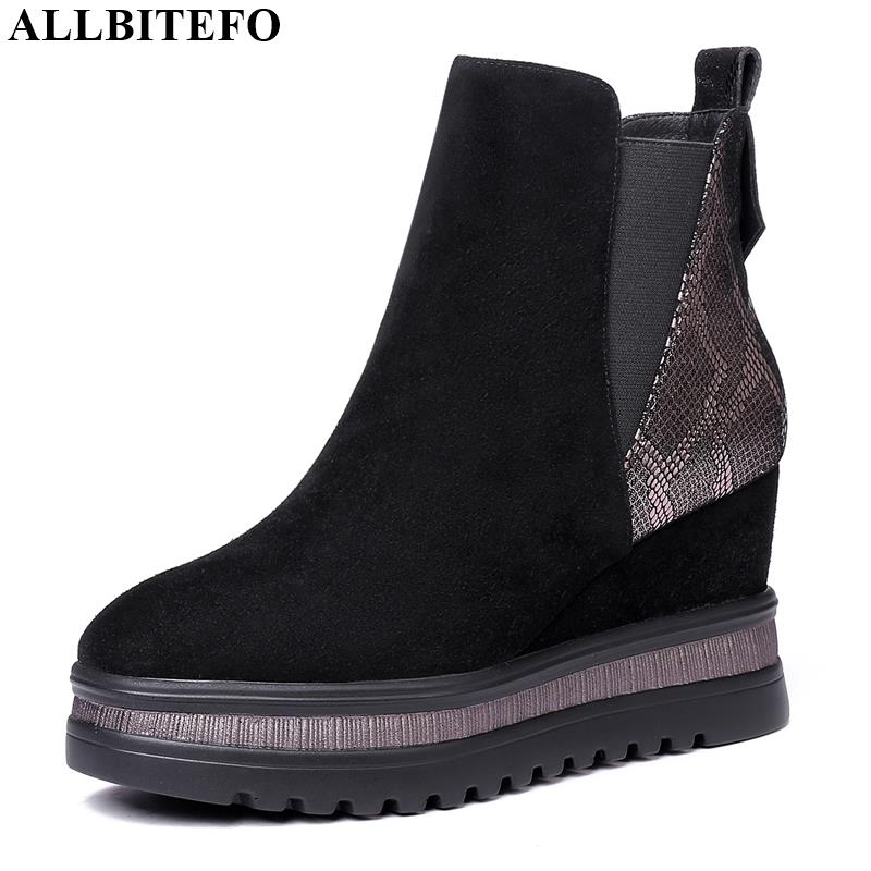 ALLBITEFO wedges heel genuine leather high heels ankle boots for 