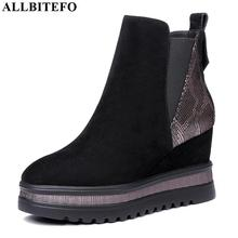 ALLBITEFO wedges heel genuine leather high heels ankle boots for women mixed colors women boots winter snow boots size:34 42