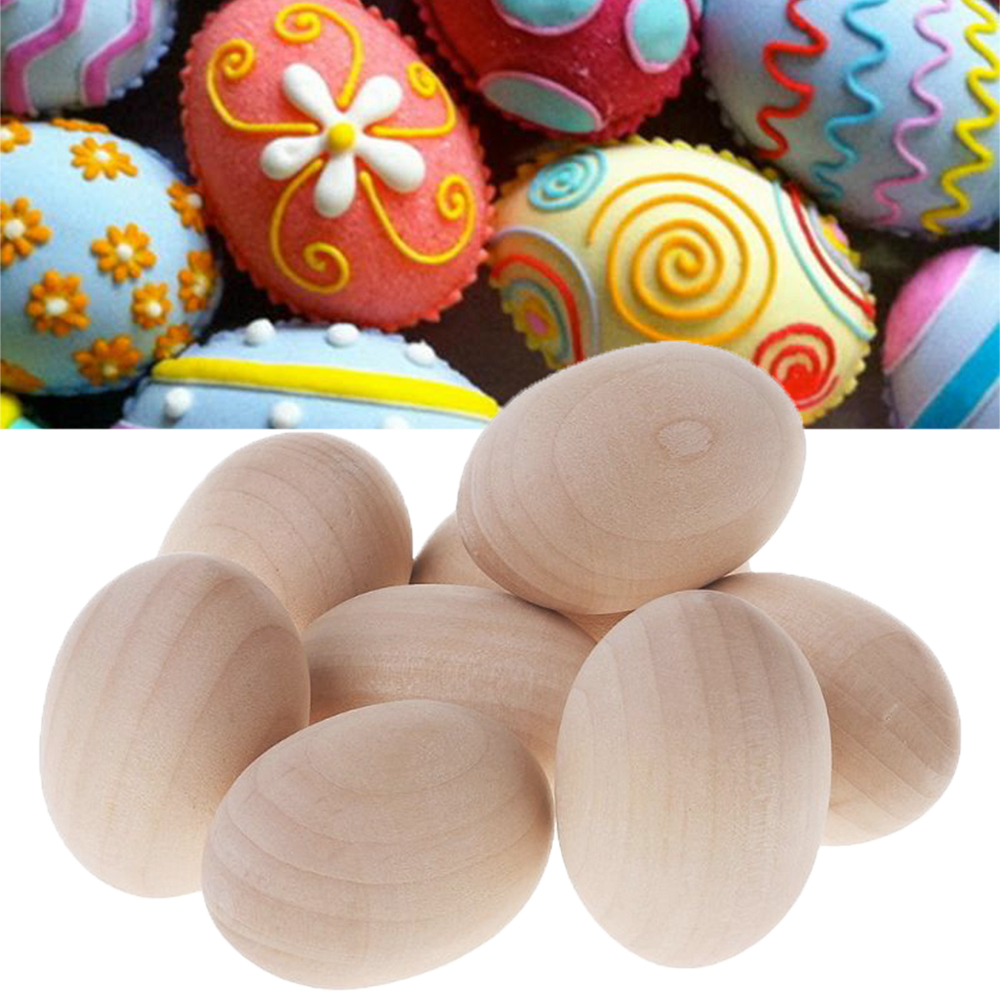 Original Wooden Imitation Eggs DIY Handmade Doodle Hand-painted Sports Creative Easter Eggs