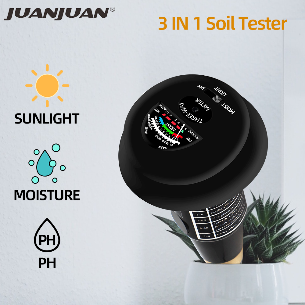 3 In 1 Soil PH Tester Garden PH Humidity Meters Soil Light Moisture Monitor Sunlight Intensity Test Device For Plants 30%OFF