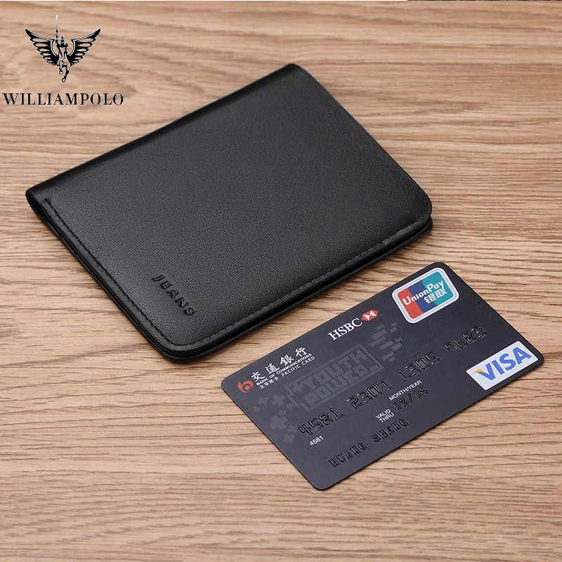 Williampolo Short Wallets For Men Genuine Leather Wallet Men Coin Pocket Card Holder Purse Mini Small Wallet Business gift pl149