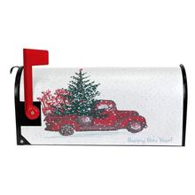 Новогодний Магнитный чехол для почтового ящика с изображением Красного грузовика, автомобиля, снега, новогоднего почтового ящика