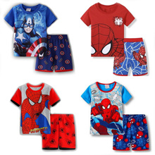 Pajamas-Set Short-Sleeve Boys Sleepwear Neck-Boys Kids Child Cotton Cartoon New Round