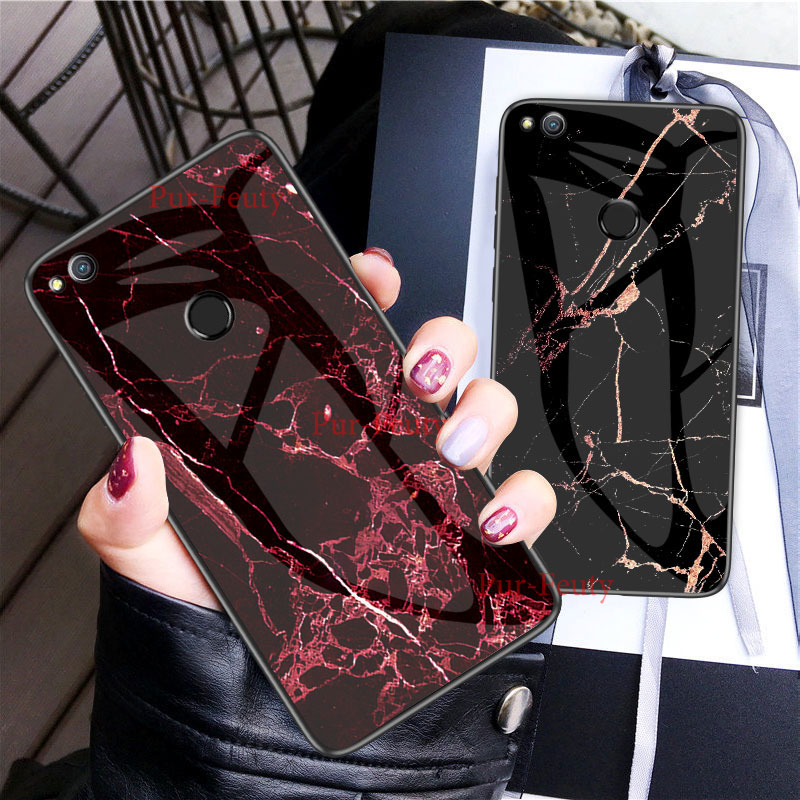 Silicone Marble Tempered <font><b>Glass</b></font> For <font><b>Huawei</b></font> Honor 10 9 8 <font><b>Lite</b></font> PRA-TL10 Y6 2019 8A 8C 8X Play V10 V20 P8 <font><b>P9</b></font> <font><b>Lite</b></font> 2017 Back Cover image