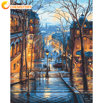 CHENISTORY Frame Painting By Numbers Scenery DIY Oil Coloring By Numbers Street Landscape Canvas Paint Art Pictures Home Decor