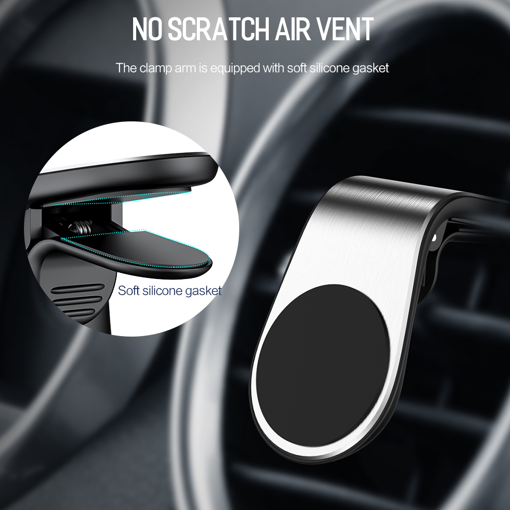 Universal Magnetic Car Phone Holder L Shape Air Vent Mount Stand For IPhone GPS Clip Phone  Universal Ring Car Phone Holder