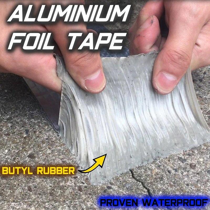 Newly Aluminum Foil Butyl Rubber Tape Self Adhesive Waterproof Pipe Roof Stop Leak Tape Crack Leaking Trap Super Repair Tapes