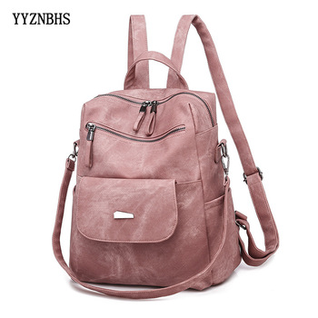 Leather Backpack Women Shoulder Bag Vintage Bagpack Travel Backpacks For School Teenagers Girls Back Pack Women Mochila Feminina women leather backpack pink bolsas mochila feminina large girl schoolbag travel bag genuine leather lady backpacks candy color