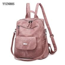 Mochila de cuero para mujer, bolso de hombro Vintage, mochilas de viaje para la escuela, adolescentes, chicas, Mochila femenina