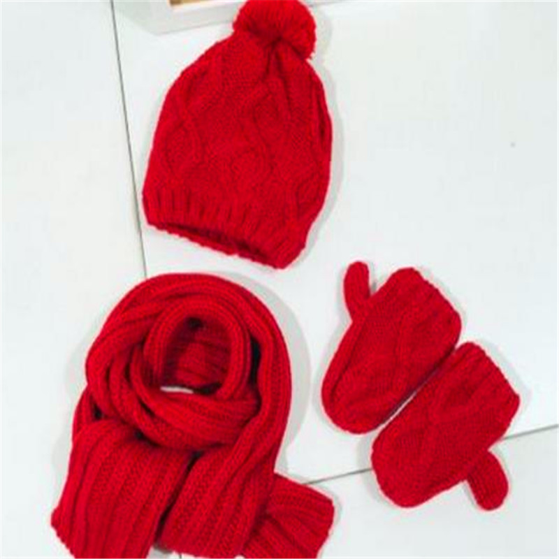 Children's Hats Scarves Gloves Three-piece Knitting Qiu Dong Baby Boys Girls In Winter To Keep Warm 45861