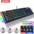 ZUOYA механическая клавиатура RGB Mix с подсветкой Проводная игровая клавиатура с защитой от привидения синий красный переключатель для игровог...