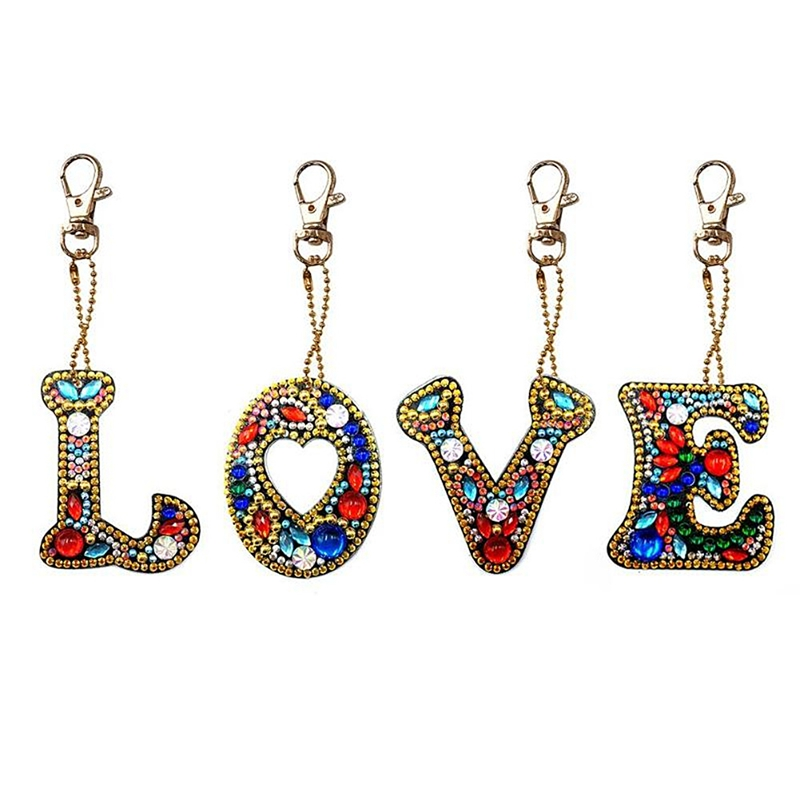 4 Set Diy Letters Diamond Painting Keychain Kits Full Drill Diamond Embroidery Girl Bag Jewelry Handmade Gift