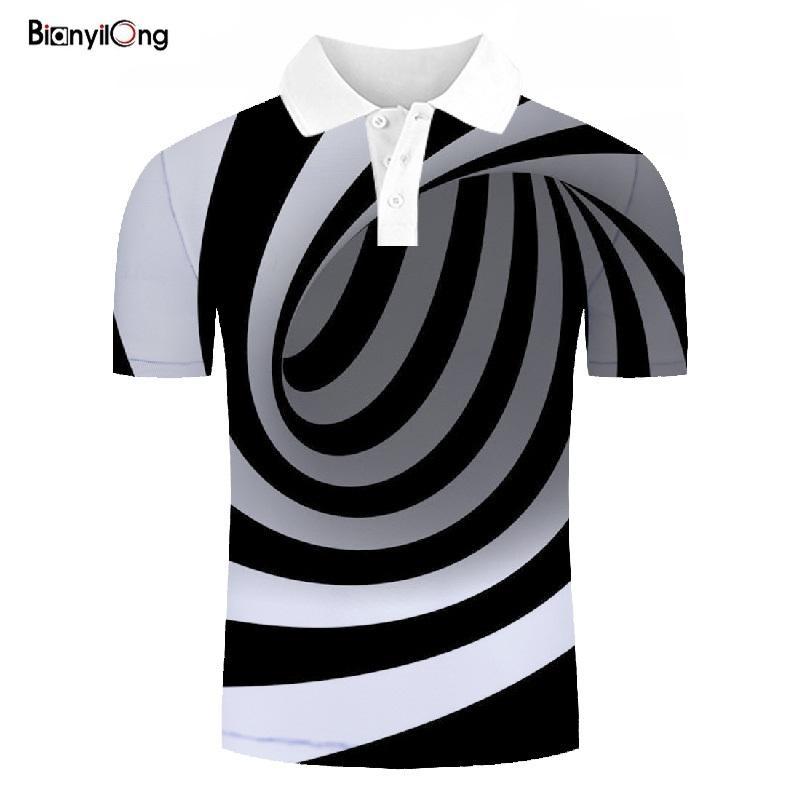 2019 New   polo   shirt men Casual Shirt Fashion Black and white stripes 3D Printing Short Sleeve Shirt   polo   shirt tops&tees