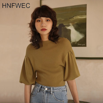 Vintage Lantern Sleeve Half High Collar Sweater French Style Elegant Solid Color Pullover Women Fashion Knitwear V500