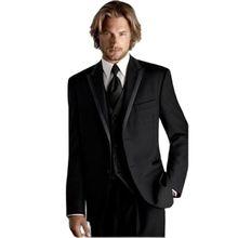 Men's Suits Pants Tuxedo Custom Black Man Jacket Vest Groom Best Wedding/dinner-Blazer