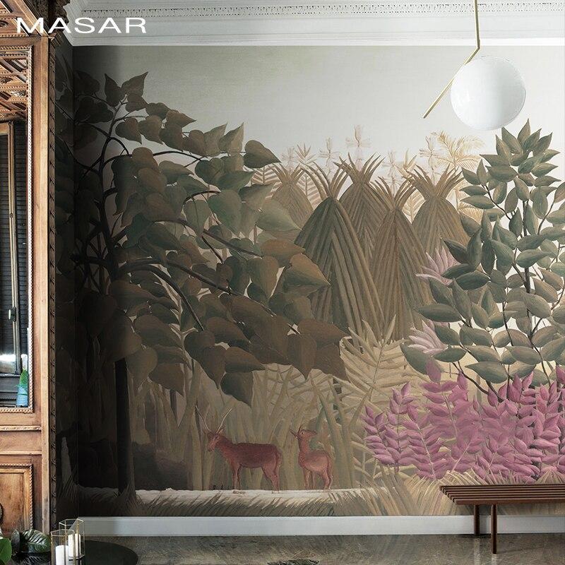 MASAR Forest Animal Murals Living Room Dining Room Living Room Hallway Wallpaper Waterproof Environmental Protection Fantasy