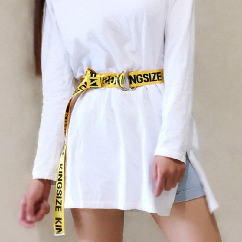 Women Nylon Canvas Belts Letter Printed Ladies Long Waist Strap Jeans Trouser Student Female Waistband Punk Harajuku