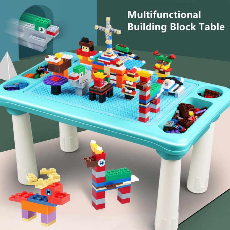 Đa Chức Năng Bàn Bàn Mặt Đế Brinquedos Khối Xây Dựng Bộ Bạn Bè Bàn Học Đá Cẩm Thạch Chạy Đua Giáo Dục Đồ Chơi Trẻ Em