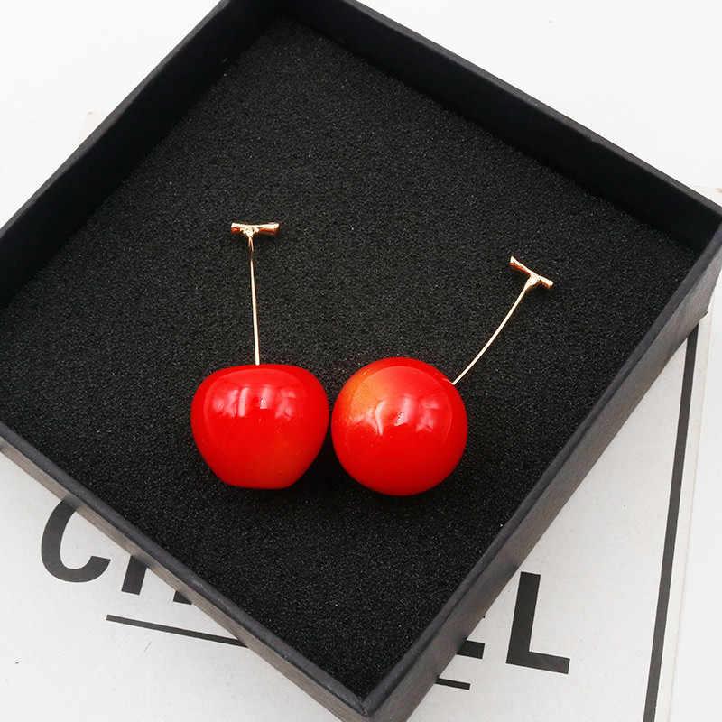 เชอร์รี่ต่างหูสไตล์ฤดูร้อน Berry Cherry ต่างหูน่ารักยาวสำหรับหญิงสาวเกาหลีแฟชั่นเครื่องประดับ