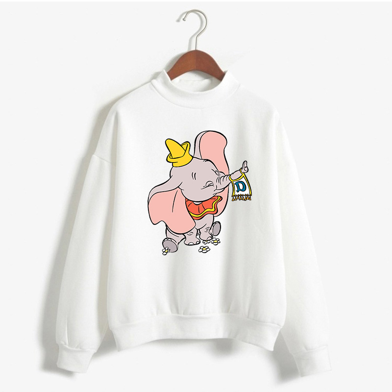 New Women Harajuku Pullover Cartoon Movie Dumbo Fashion Streetwear Flying Elephant Long Sleeve Korean Style Tops Sweatshirt