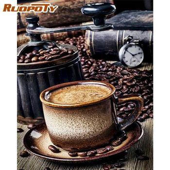 RUOPOTY 40x50cm Painting By Numbers Kits For Adults Children Coffee Bean Landscape Paint By Number Home Deco Wall Art Photos