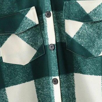 New Fall Winter Women Oversized Coat Long Checked Casual Fashion Chic Women Jackets Long windbreaker
