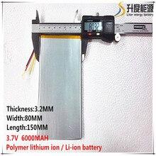 1 шт. хорошее качество 3,7 в 6000 мАч(настоящий 5900 мАч) литий-ионный аккумулятор для CHUWI V88, V971, Pipo M9 планшетный ПК, 3,2*80*150 мм