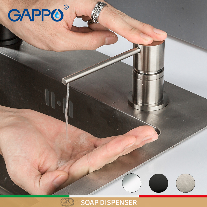 GAPPO Liquid Soap Dispenser Brass Kitchen Soap Dispensers Round Built In Counter Top Dispenser