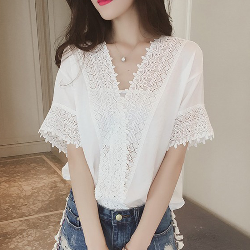 Summer Women Blouse Solid Casual Shirts Short Sleeve V Neck Oversized Loose Office Ladies Topsblusas Mujer De Moda 2020