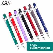 LZN 10 adet bir lot 2019 yeni stil 2 In 1 evrensel Stylus dokunmatik yazma kalem iPad iPhone Tablet için ücretsiz özelleştirilmiş Logo/metin/tarih