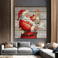 Kunst malerei Santa Claus halten laterne leinwand malerei Weihnachten poster und drucke hause wohnzimmer dekoration