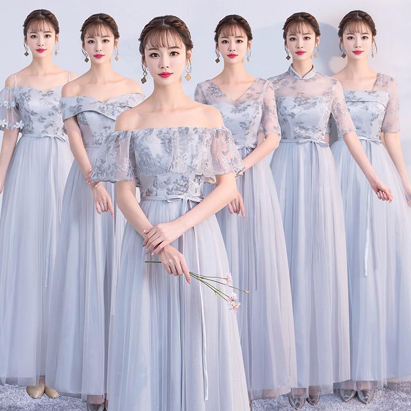 Plus Size Bridesmaid Dress Junior Tull Long Dress For Wedding Party For Woman  Tea Length Dress Elegant Sexy Prom Vestidos Gray