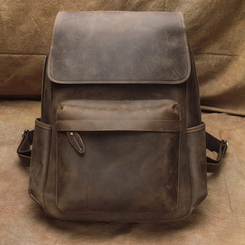 2019 Brand Crazy Horse Leather Backpack Men Vintage Computer Laptop Backpacks Teenager Student Back Pack School Travel Bag Pack