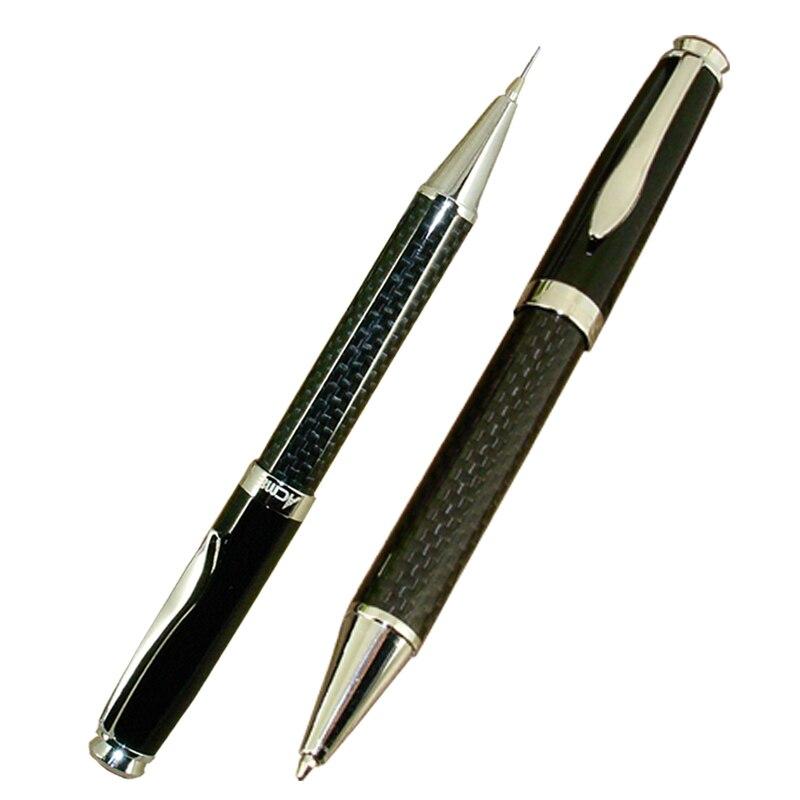럭셔리 2 개/몫 클래식 사무실 및 학교 쓰기 편지지 선물 세트 공 펜 및 기계 연필 탄소 섬유 트윈 펜 세트ball penpen setball pen set -
