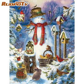RUOPOTY 60x75cm Framed Animal Meeting On Christmas Night Painting By Numbers Kids Diy Gifts HandPainted Acrylic Canvas Decors