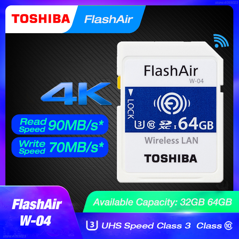 TOSHIBA FlashAir W-04 64GB SD Card U3 32GB Wifi Memory SDHC/SDXC Class 10 Memory Card W-03 16Gb 32Gb For Digital Camera