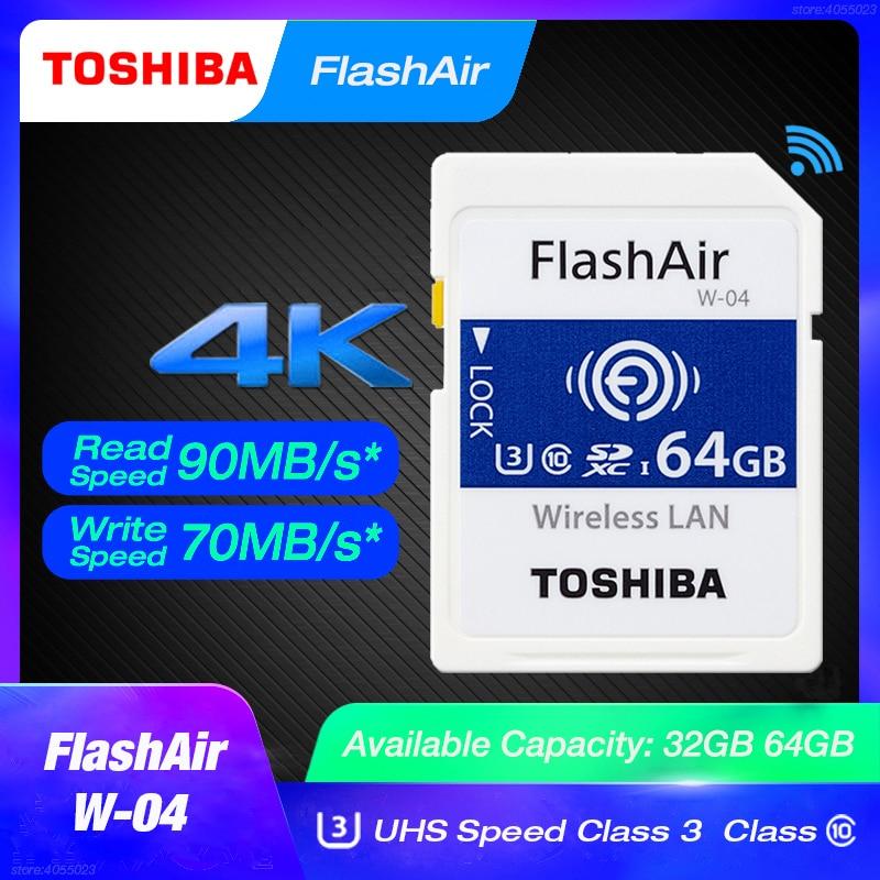 TOSHIBA FlashAir W-04 64GB SD Card U3 32GB Wifi Memory SDHC/SDXC Class 10 Memory Card W-03 16Gb 32Gb For Digital Camera