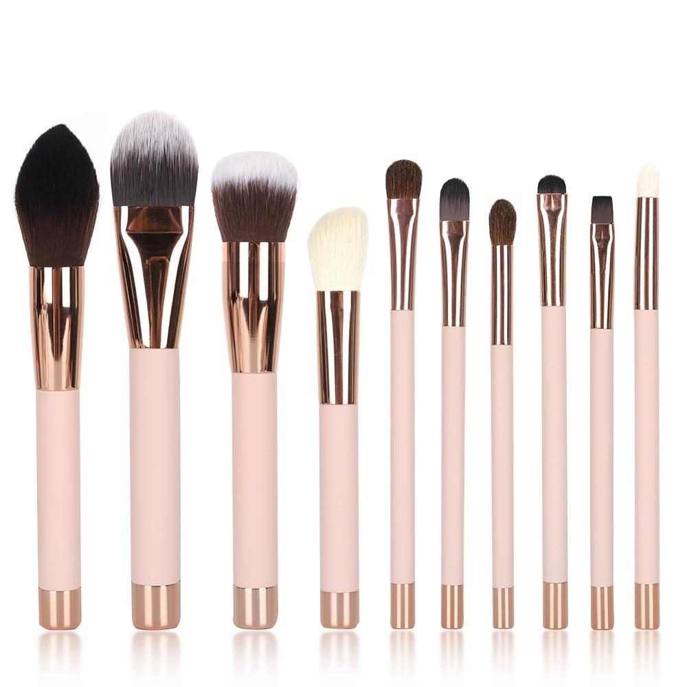 Набор профессиональных кистей для макияжа 10 шт./лот деревянная ручка с магнитом макияж Синтетический ворс основа для основы/пудры/ресниц/Ки...